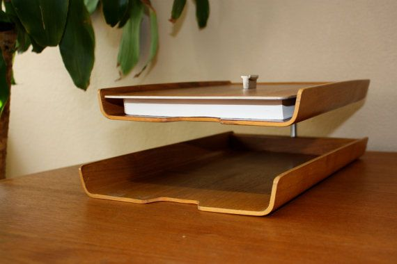 Mid Century Modern Paper File Organizer Two Tier Tray With Paper
