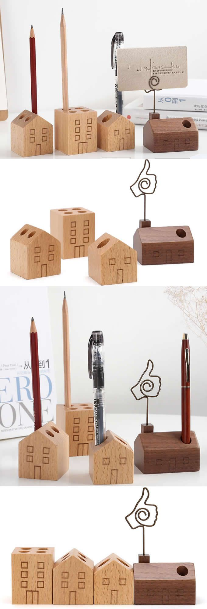 Wooden House Shaped Single Pen Stand Holder Office Desk Stationery