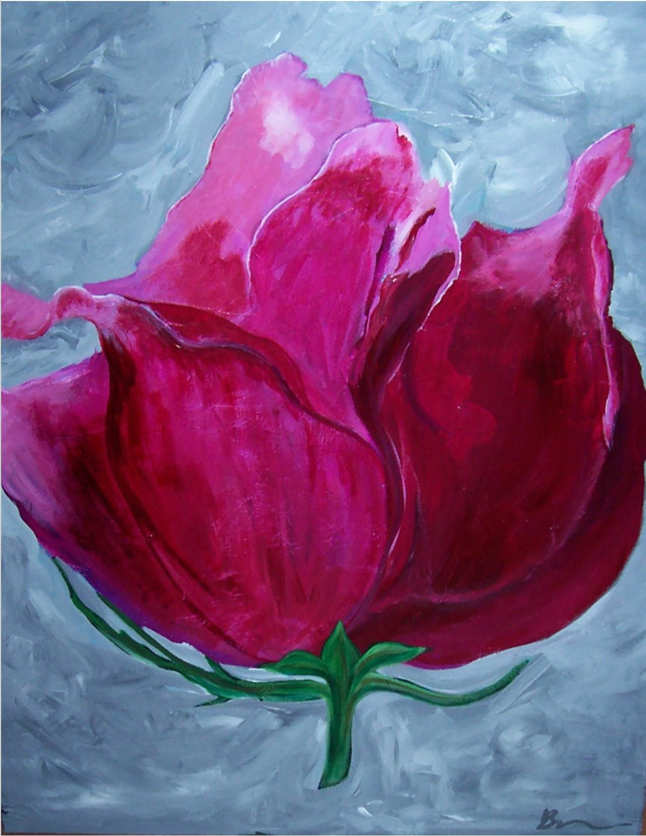 """""""Mummy's Rose"""", a painting for my mother who will greet her 90th birthday very soon."""