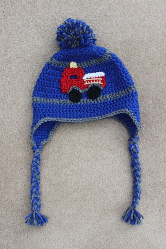 Crochet fire truck hat with pompom earflaps and by ApolloKnits ...