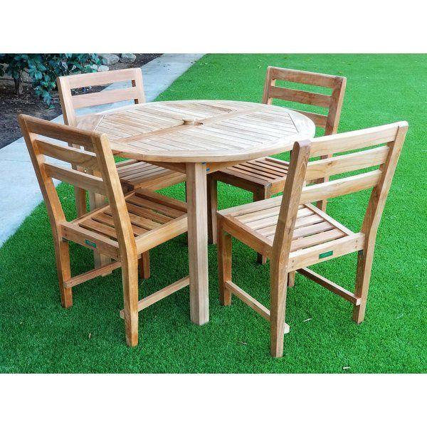 kraus 5 piece teak dining set outdoor furniture solid wood table rh pinterest com