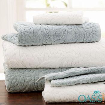 Bath Towels In Bulk Soft White And Grey Embossed Bath Towel Set  Bath Towels Wholesale