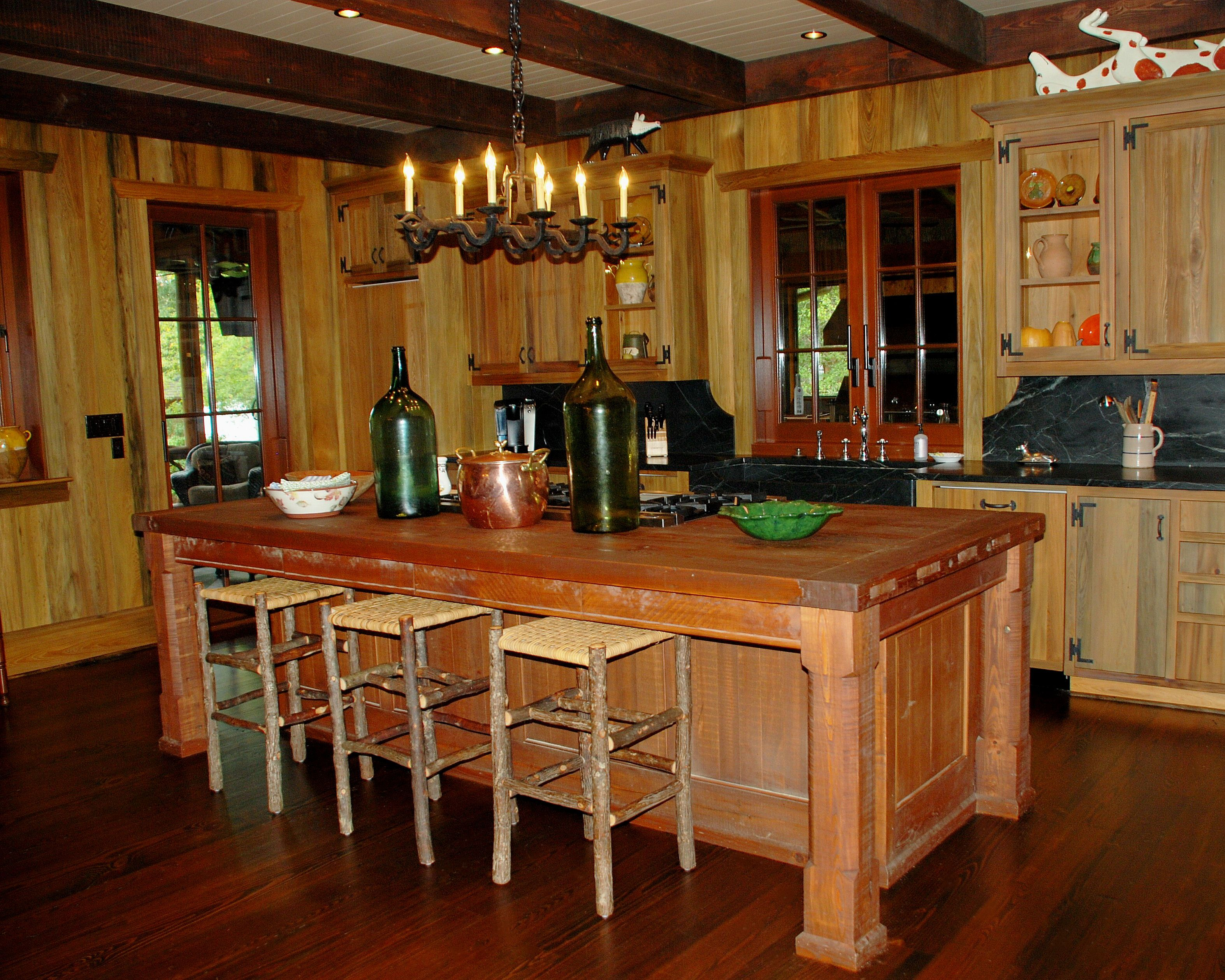 River Recovered Cypress Kitchen Cabinets, Walls & Kit… | Kitchen ...