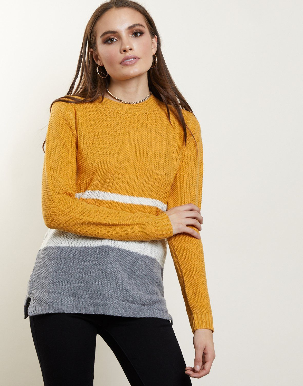 12c261a36c Aria Colorblock Sweater - Pastel Colorblock Sweater – 2020AVE yellow  colorblock top