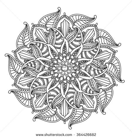 Ornamental round pattern with floral elements for smart modern coloring book for adult, shirt design or tattoo.