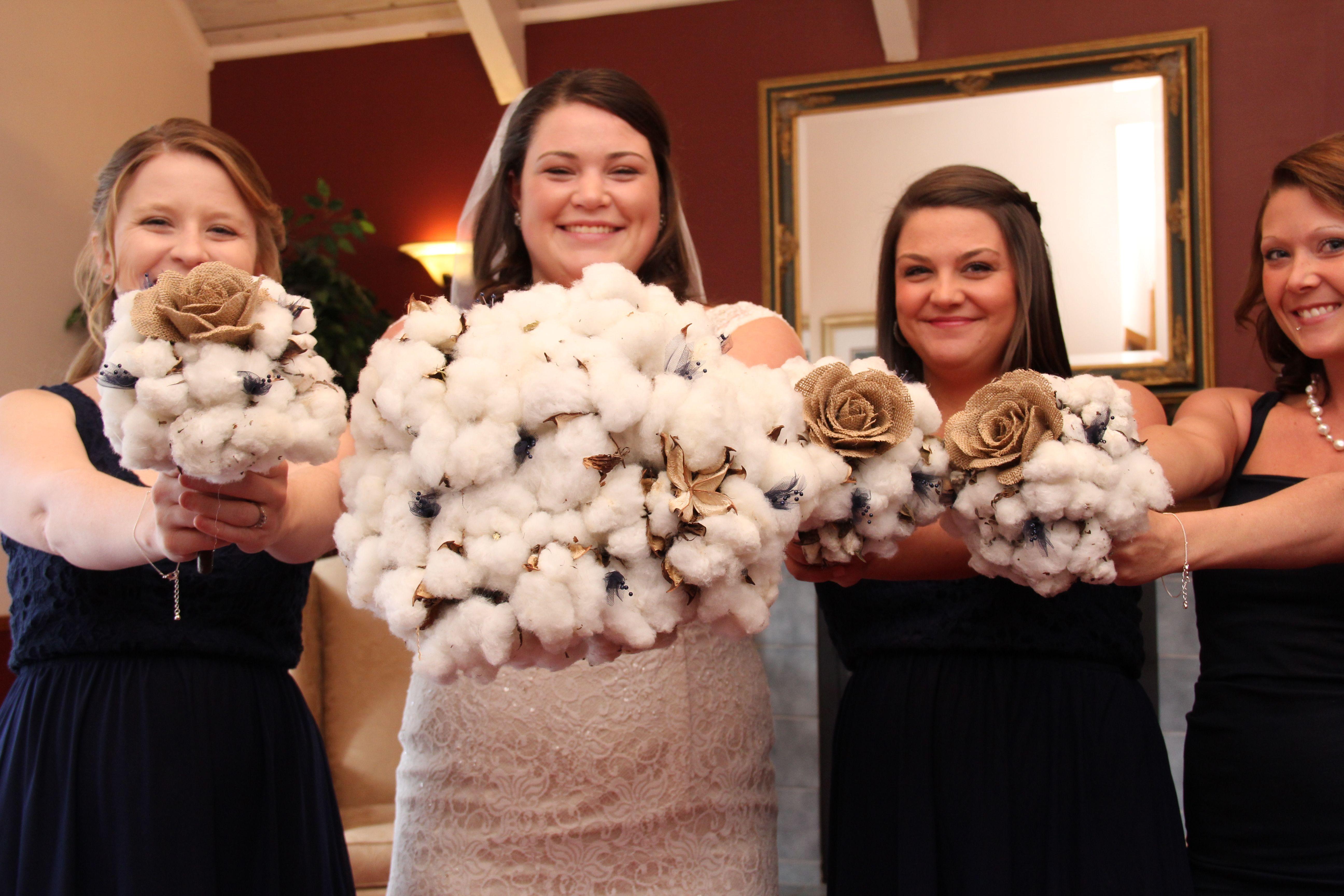 Unique cotton-and-burlap bouquets. Gotta love a pinterest bride!! #flowers #weddings #chapelatthepark