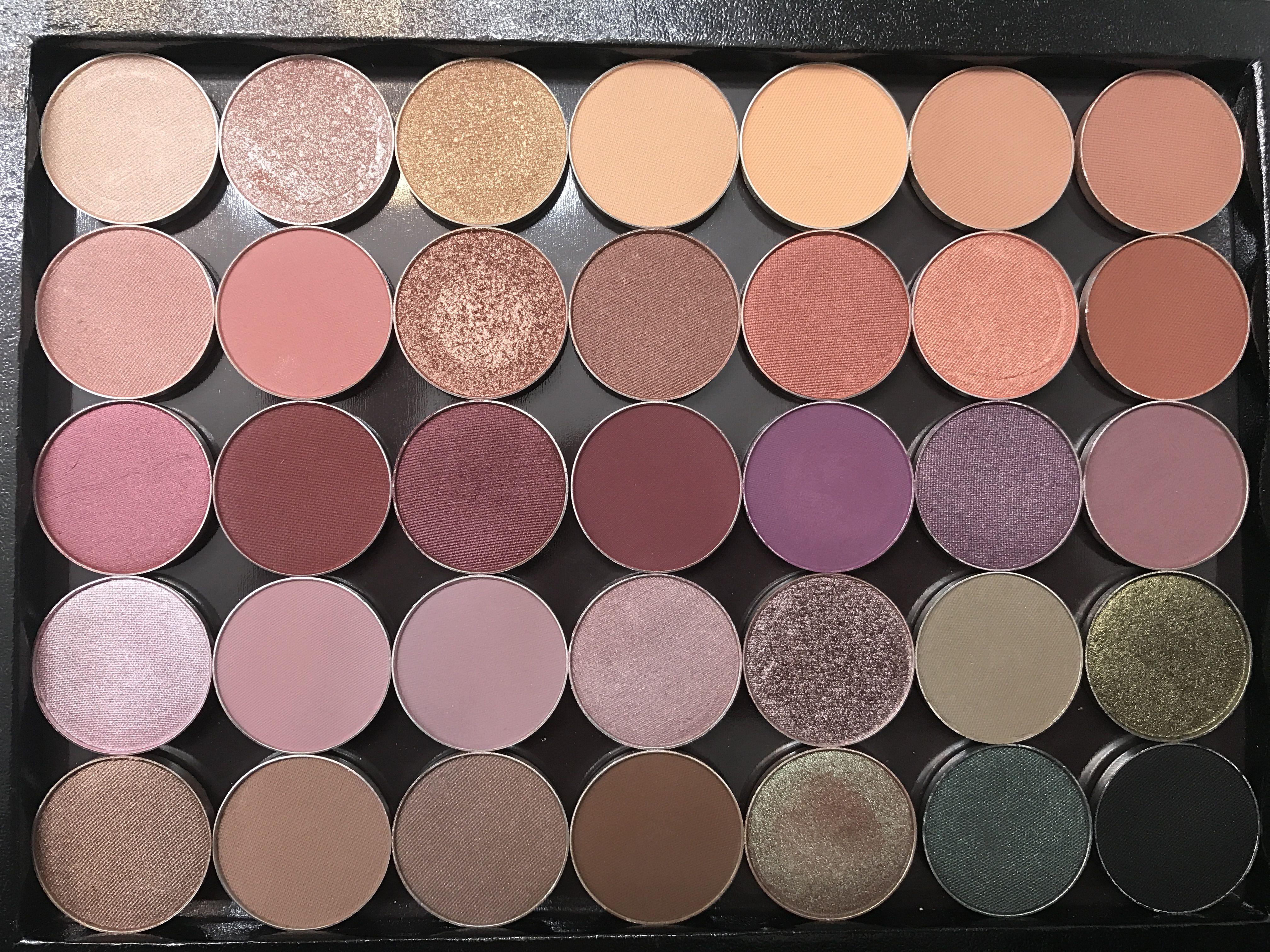 """My custom Z Palette full of """"Makeup Geek"""" single shadows"""