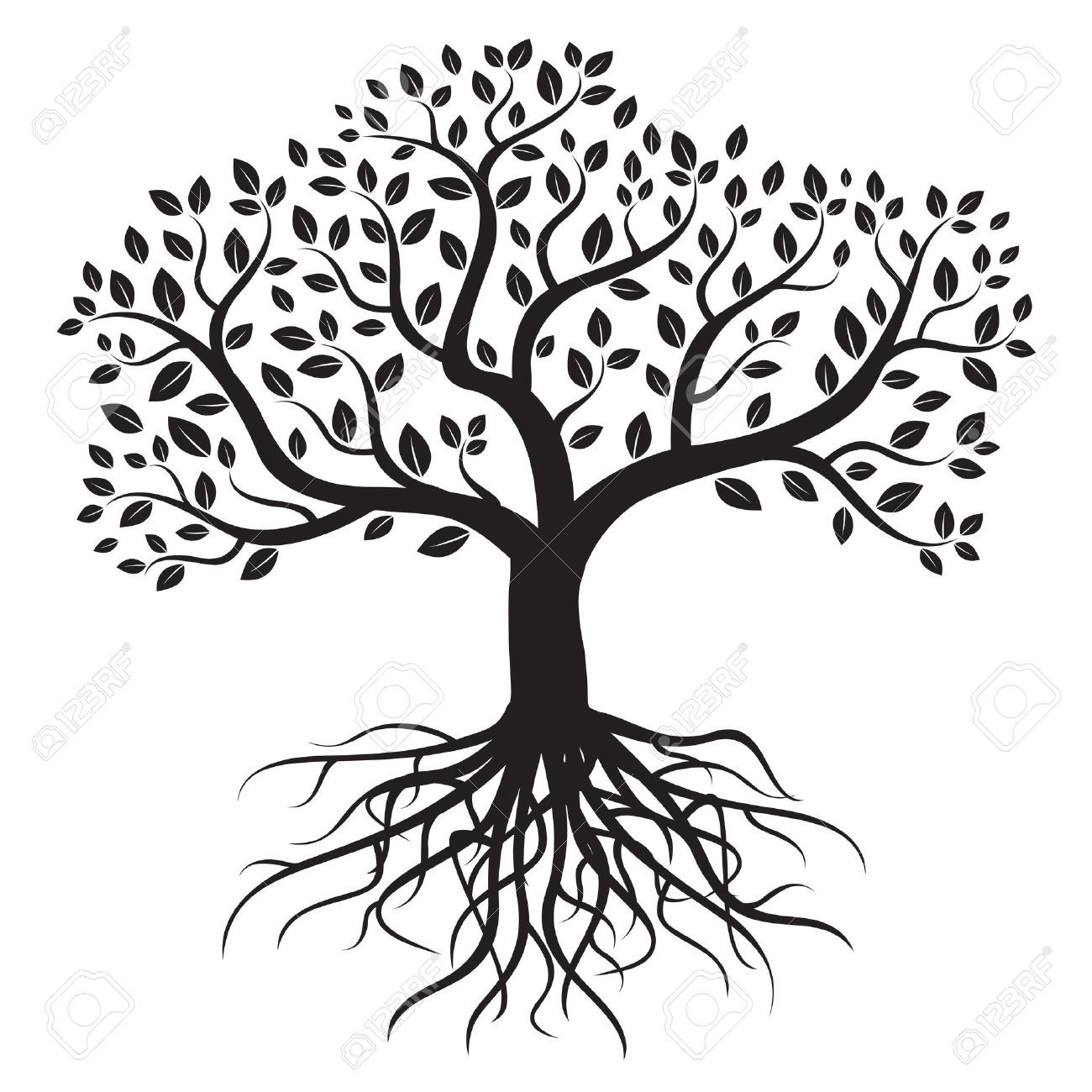 vector tree with roots and leafs  royalty free cliparts