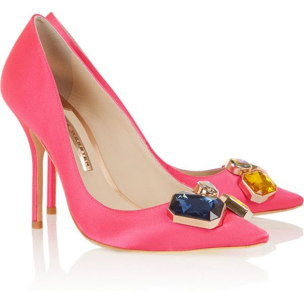 Sophia Webster Lola Gem embellished satin pumps (835 BRL) ❤ liked on Polyvore featuring shoes, pumps, heels, low heel pumps, satin shoes, iridescent shoes, decorating shoes and slip-on shoes