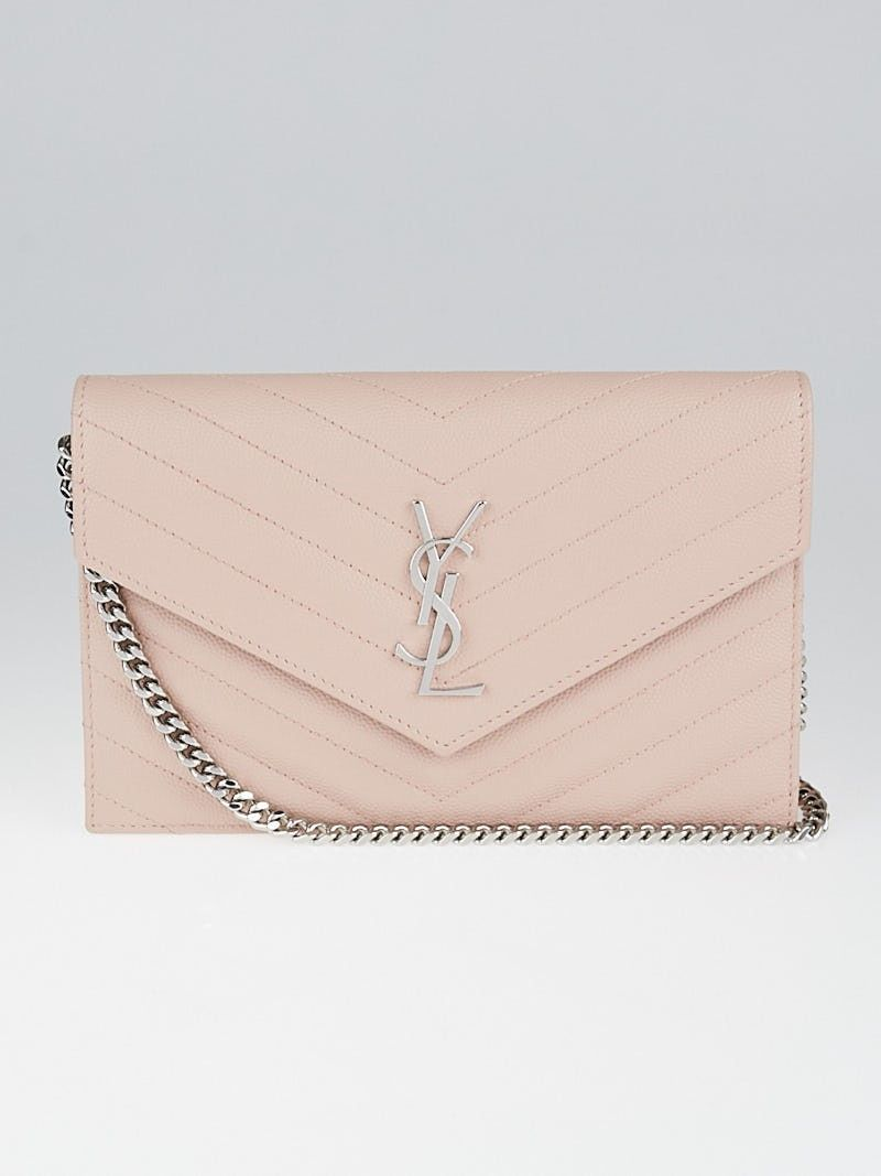 db5297ade944 Yves Saint Laurent Pale Pink Chevron Quilted Grained Leather Metalasse  Wallet on Chain Bag - Yoogi's Closet