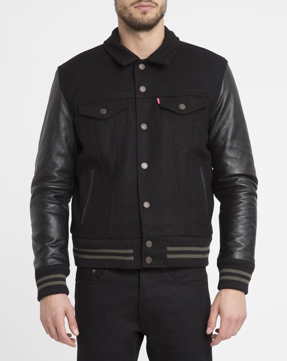 LEVI'S Black Leather and Wool Trucker Jacket for Men Enjoy