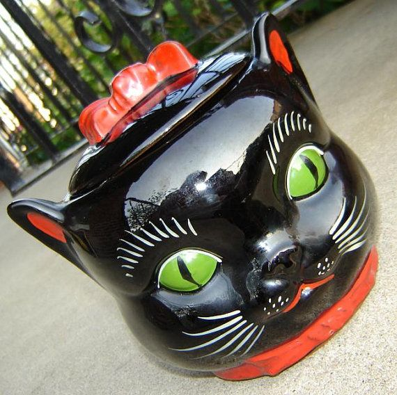 intensely adorable Shafford black cat cookie jar  by NecktieParty, $125.00