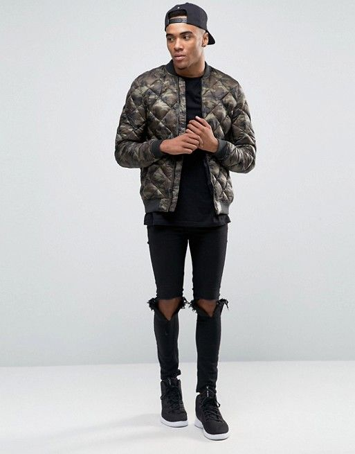 Pull&Bear Quilted Bomber Jacket In Camo   Bomber jacket ...