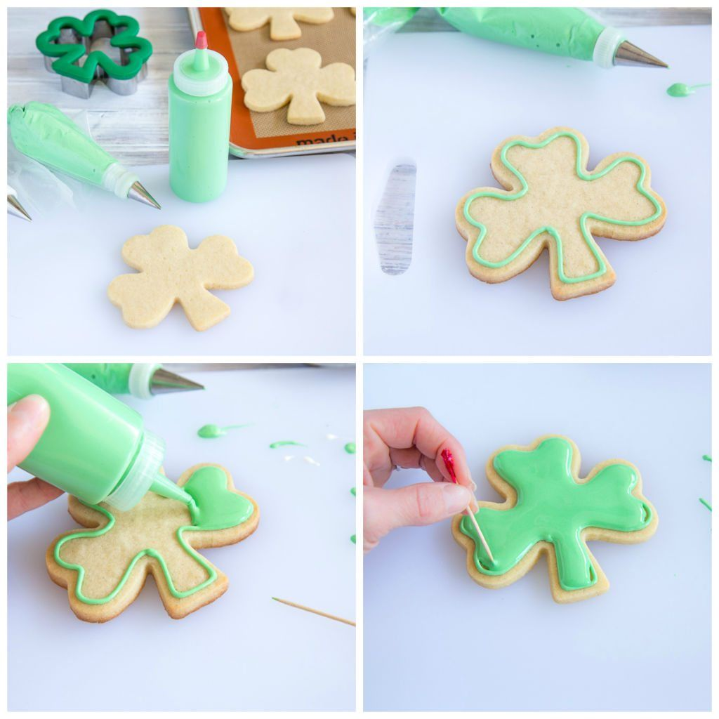 Royal Icing Shamrock Cut Out Cookies Decorating Technique