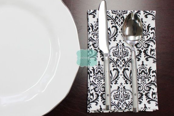 NAPKINS  Set of 4  Premier Prints  MADISON  Black by LinenVision