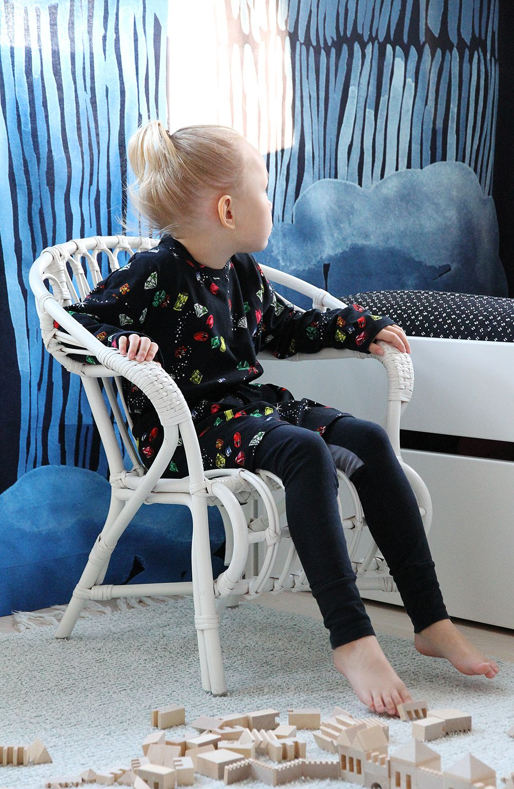 Wearing Mini Rodini. Marimekko curtains.