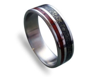 Titanium mens ring with amaranth wood and by RingOrdering on Etsy