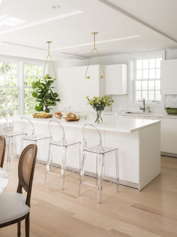 bright white contemporary kitchen with minimalist acrylic furniture rh pinterest com