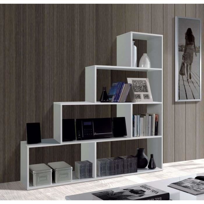 meuble tag re klum etag re biblioth que escalier blanc brillant 145x145cm am nagement. Black Bedroom Furniture Sets. Home Design Ideas