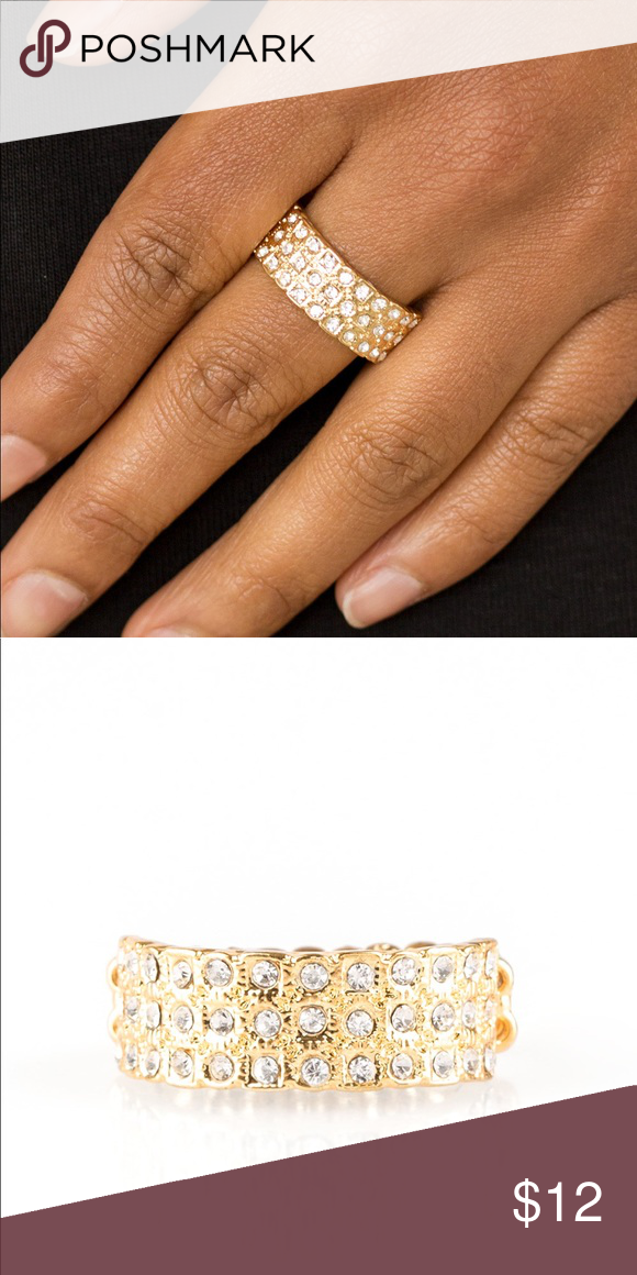 Feeling Fab You Less Gold Ring Dainty Gold Band Womens Jewelry Rings White Rhinestone