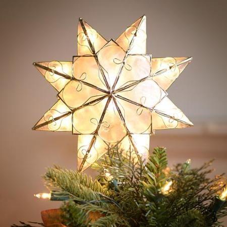 Kurt Adler 8 Indoor 10 Light 8 Point Capiz Star Tree Topper - 10-walmart-christmas-decor