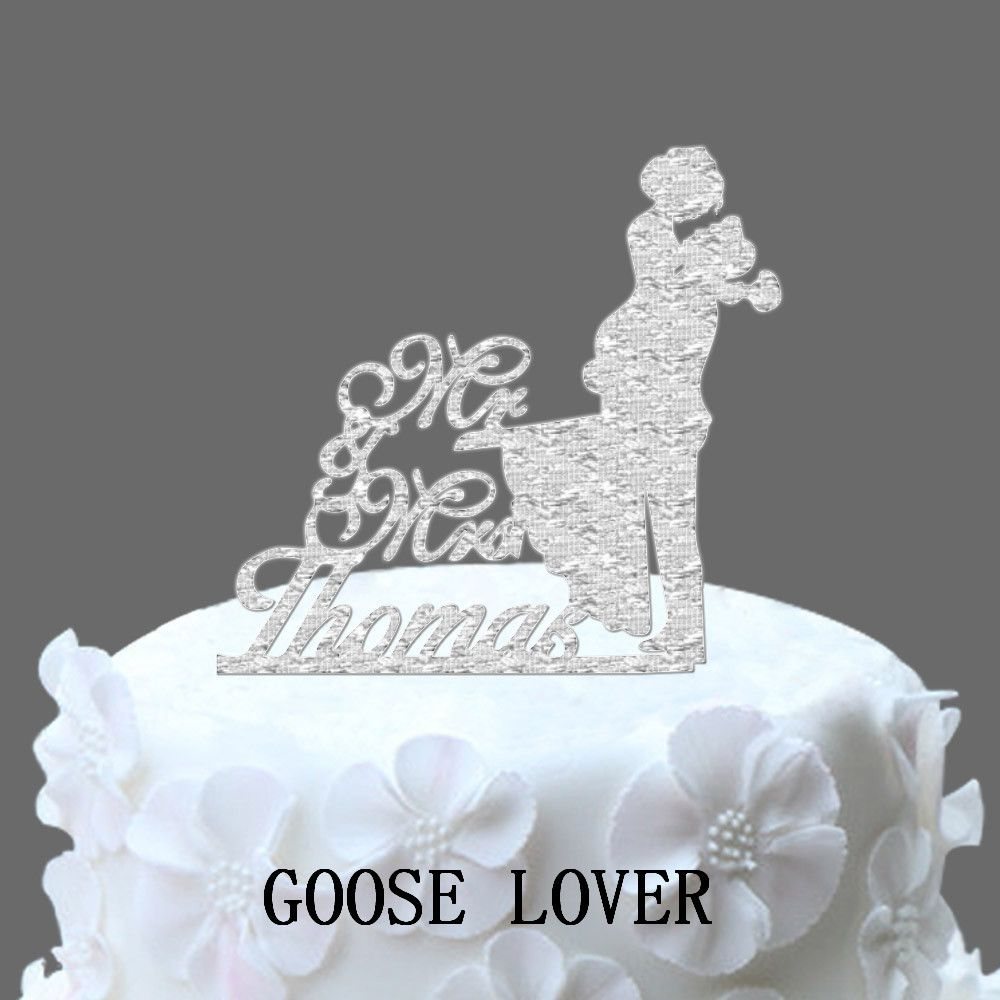Personalized last name wedding cake topper silhouette bride and