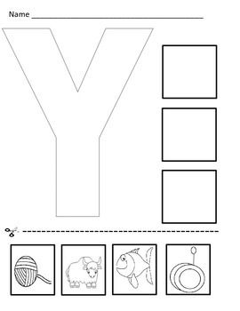 letter y cut and paste worksheet yy cut paste worksheets rh pinterest com