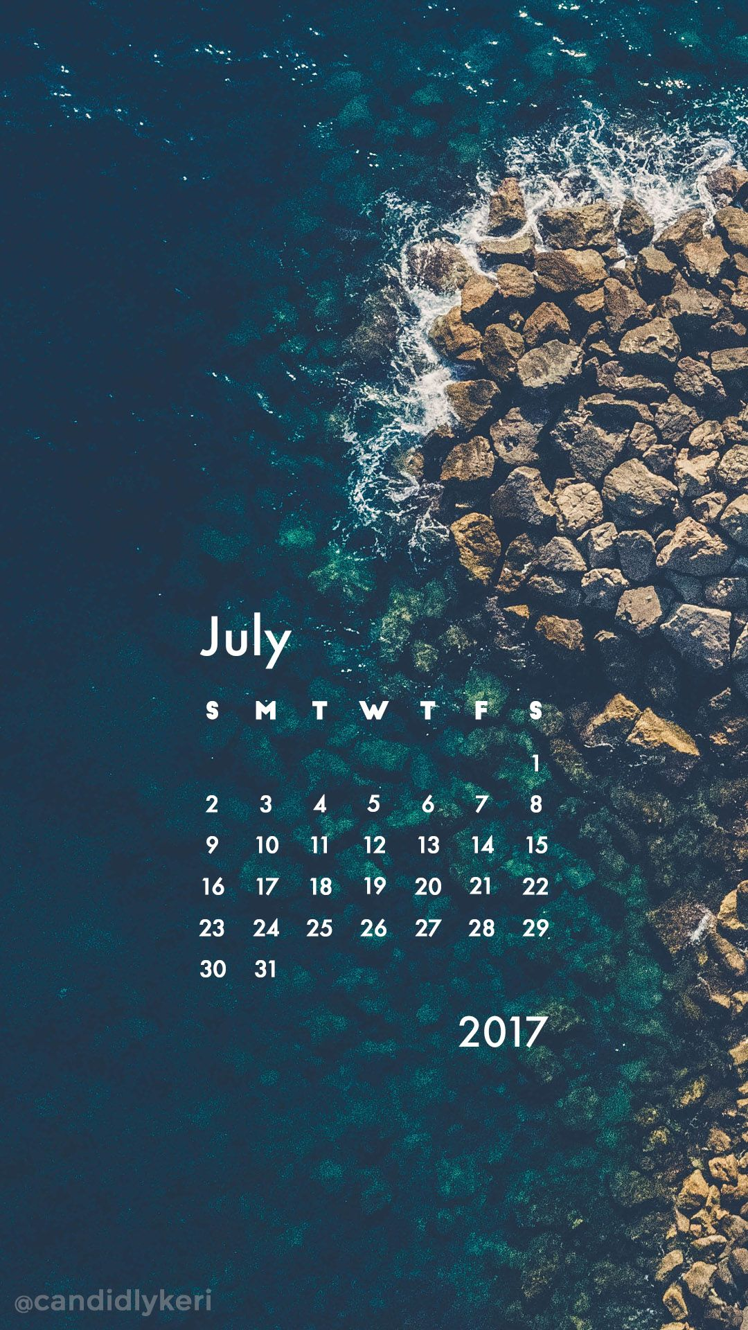 Wallpaper download of 2017 - Ocean Waves Crashing Rocks Summer July Calendar 2017 Wallpaper You Can Download For Free On The