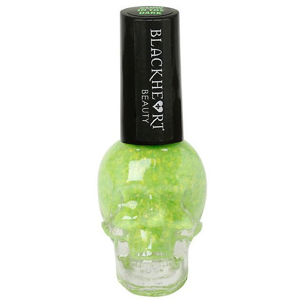 Blackheart Lime Splatter Glow-In-The-Dark Nail Polish Hot Topic ($3.50) ❤ liked on Polyvore featuring beauty products, nail care and nail polish