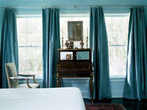 Dark Turquoise Drapes With A Brown