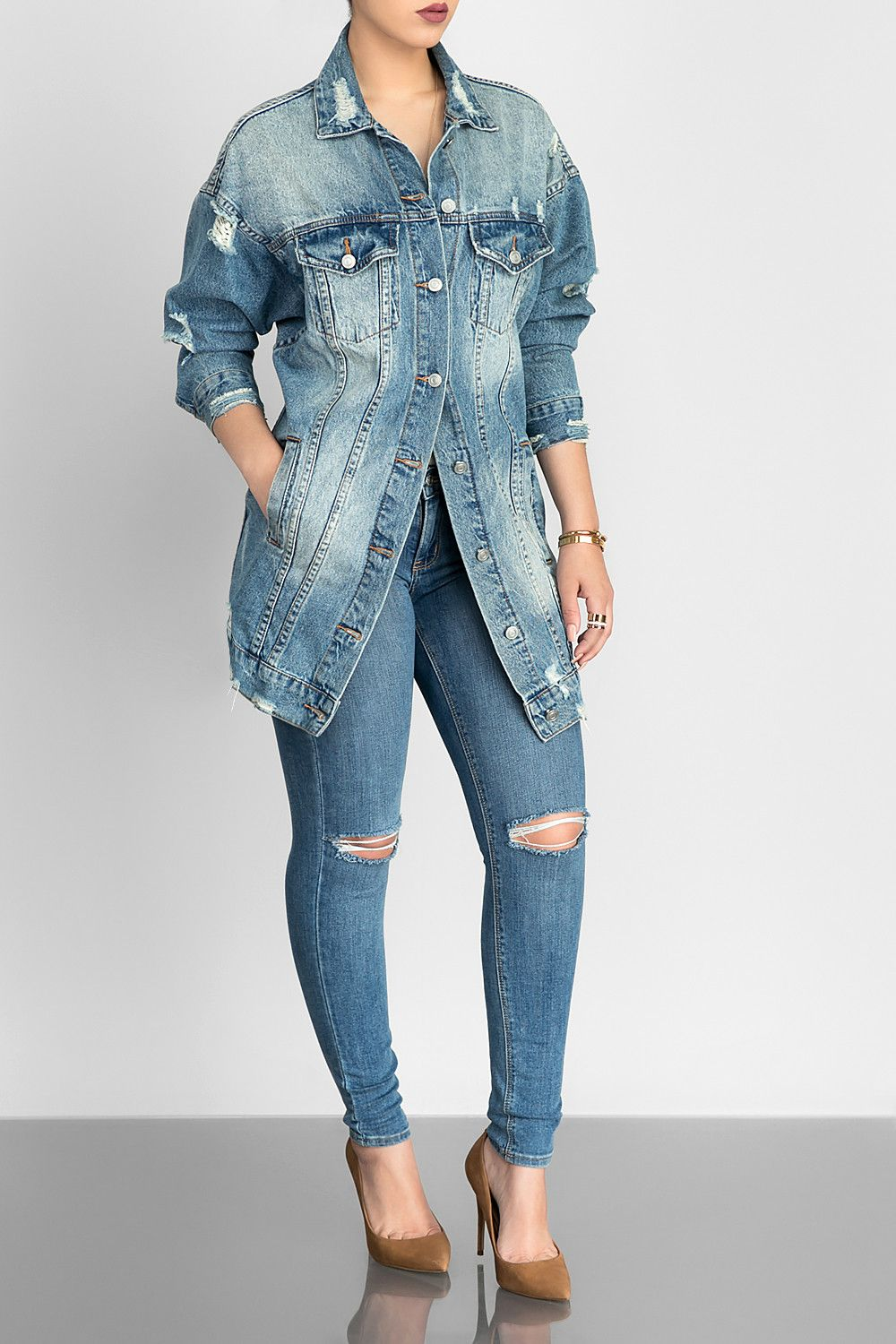 genuine get online buy good Join the denim train in this extra long, distressed, long ...