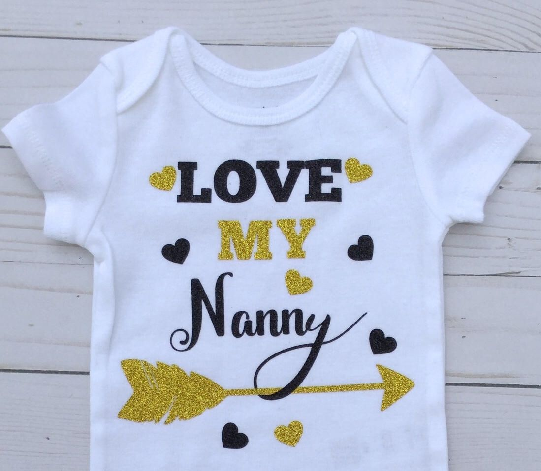 Nanny/Gold And Black/Grandmother Gift/Love Nanny Onesie/ Baby Shower Gift