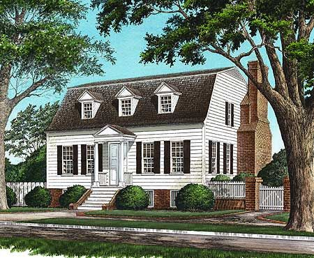 Plan 32457wp Gambrel With Secluded Master Suite Colonial House Plans Gambrel Roof Cottage Plan