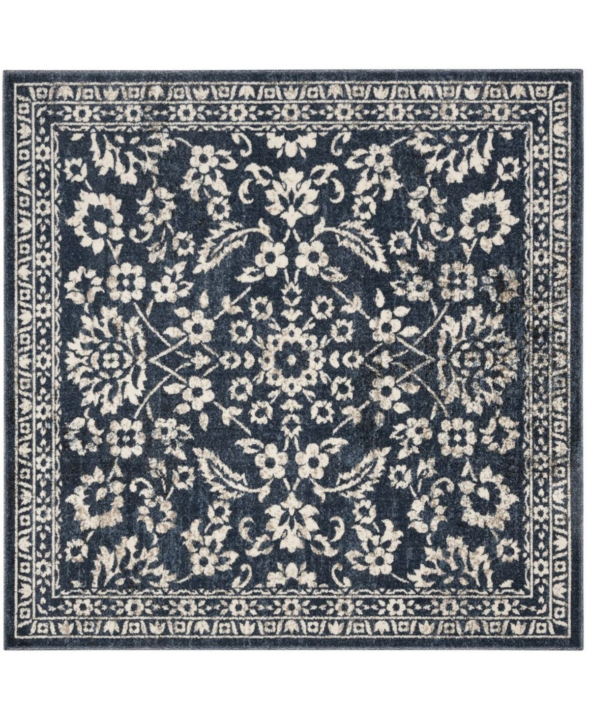 Safavieh Carolina Dark Blue 5 1 X 5 1 Square Area Rug Reviews Rugs Macy S Plush Area Rugs Classic Rugs Family Room Decorating