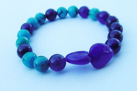 Amethyst and Turquoise Jasper Bracelet by CherylsHealingGems and Click Here Creations $25.00