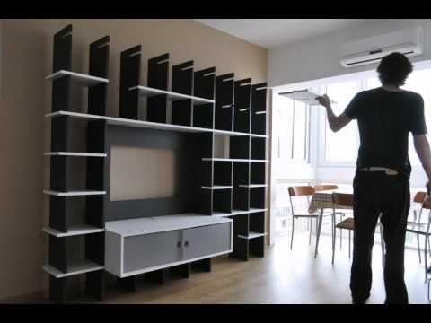 Mueble biblioteca tv dise o interior muebles muebles for Diseno de muebles de madera modernos