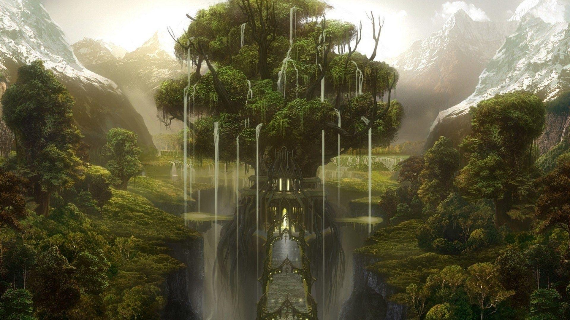 1920x1080 Tree Of Life Wallpaper Background Fantasy Landscape Fantasy Tree Landscape Wallpaper