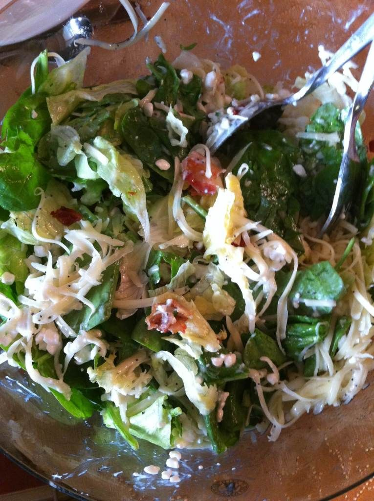 Salad: Mix lettuce and spinach and top with remaining ...
