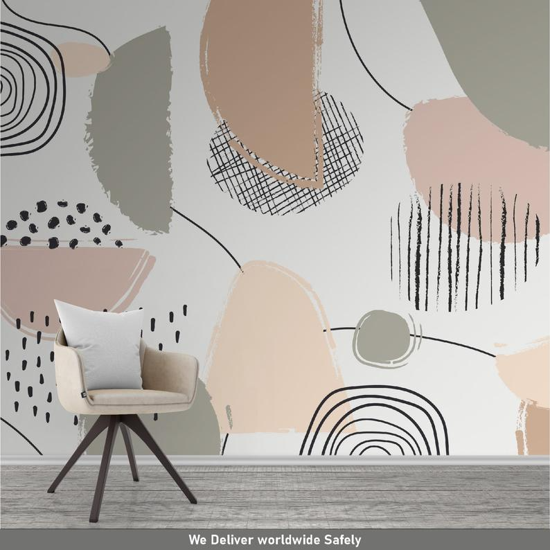 Abstract Wallpaper, Pastel Color Mural, Peel and s