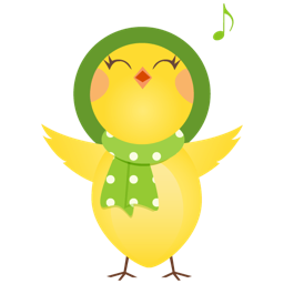Singing Chick in Green