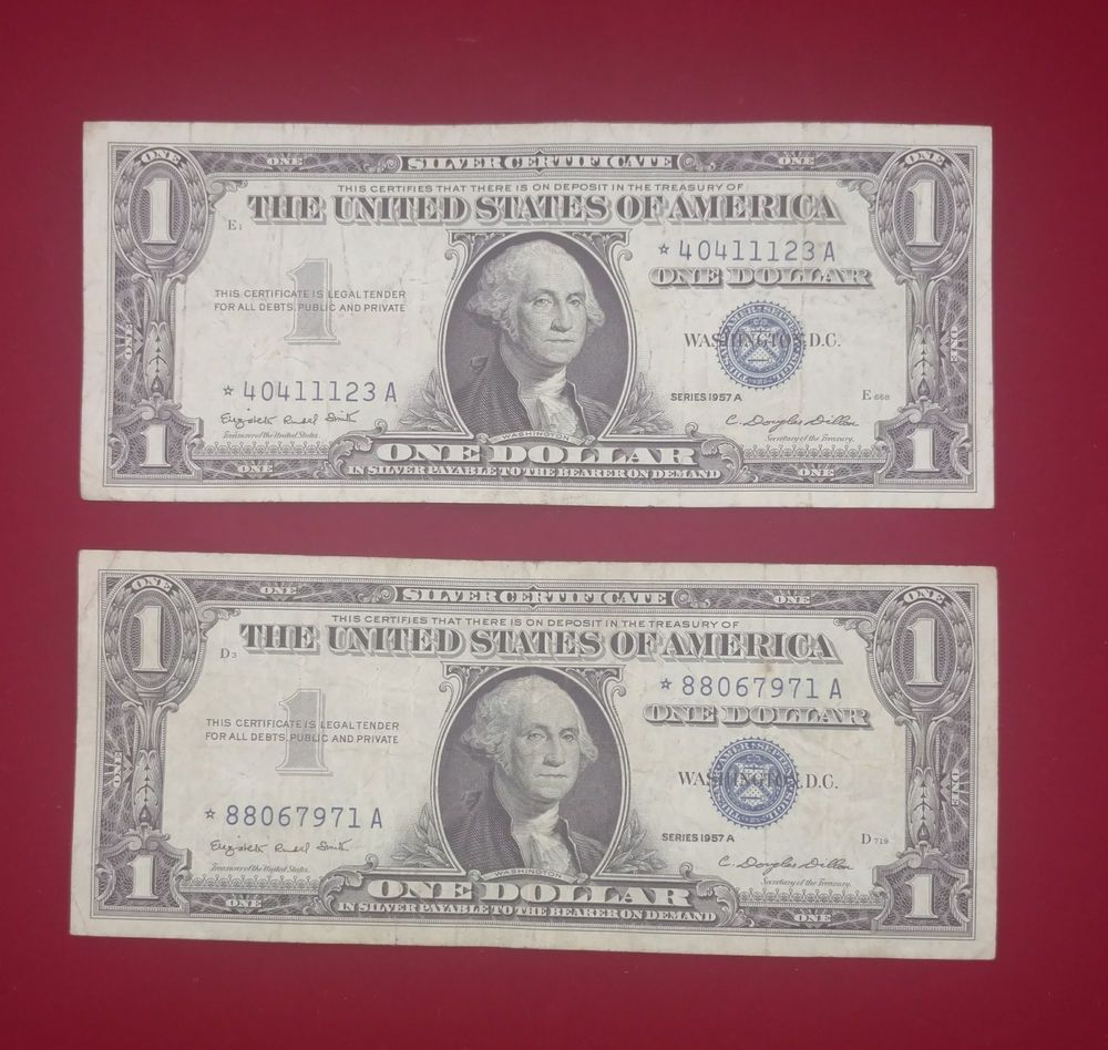 2 1957 a one dollar silver certificate star notes all on sale 2 1957 a one dollar silver certificate star notes xflitez Images
