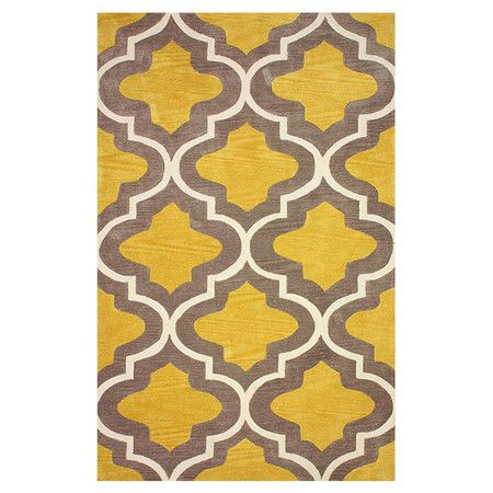 Bring Worldly Glamour To Your Decor With This Chic Rug Showcasing A Quatrefoil Motif In A Rich Gold Palette Product R Hand Tufted Rugs Rugs Plush Area Rugs