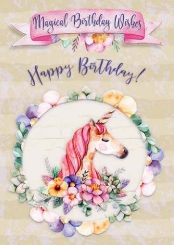 A Magical Unicorn Birthday Greeting Card For Lovely Granddaughter Happybirthday