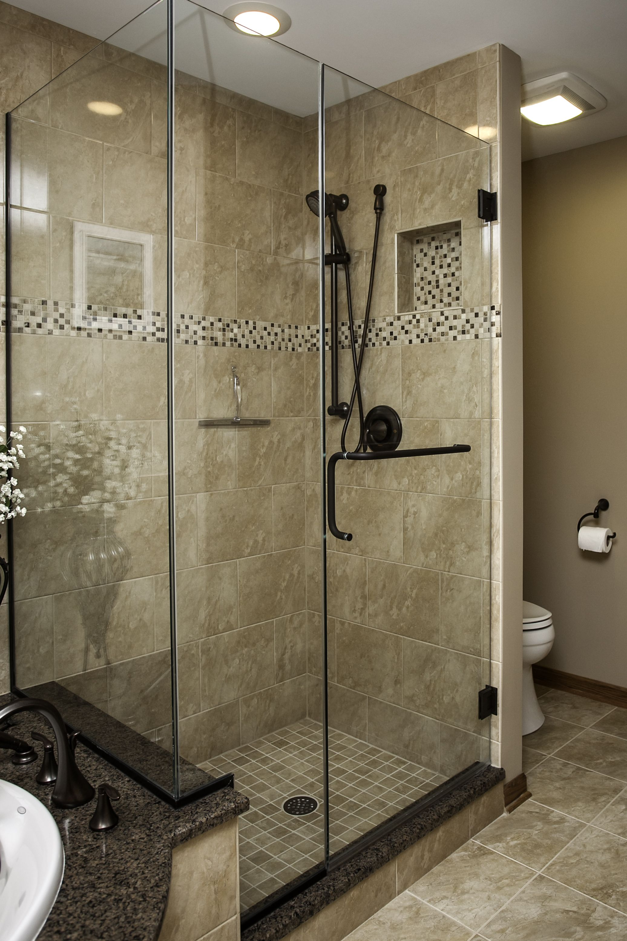 Plainfield Master Bath shower. Oil rubbed bronze hardware, mosaic ...