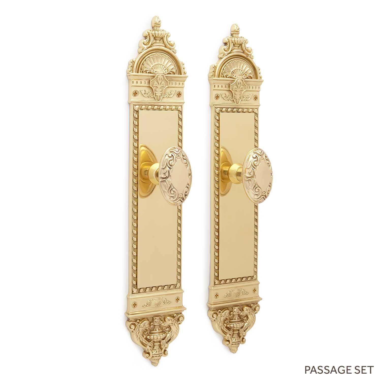 Aline Large Decorative Plate & Victorian Oval Knob Set - Passage - Polished Brass