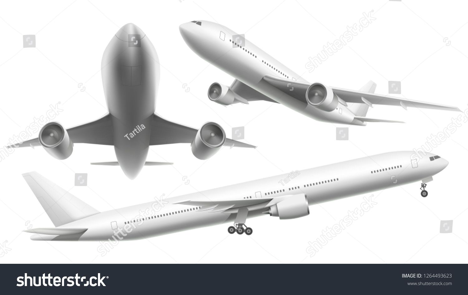 Realistic Aircraft Passenger Plane Sky Flying Aeroplane And Airplane In Different Views 3d Planes Transport Or In 2020 Passenger Planes Aircraft Presentation Board