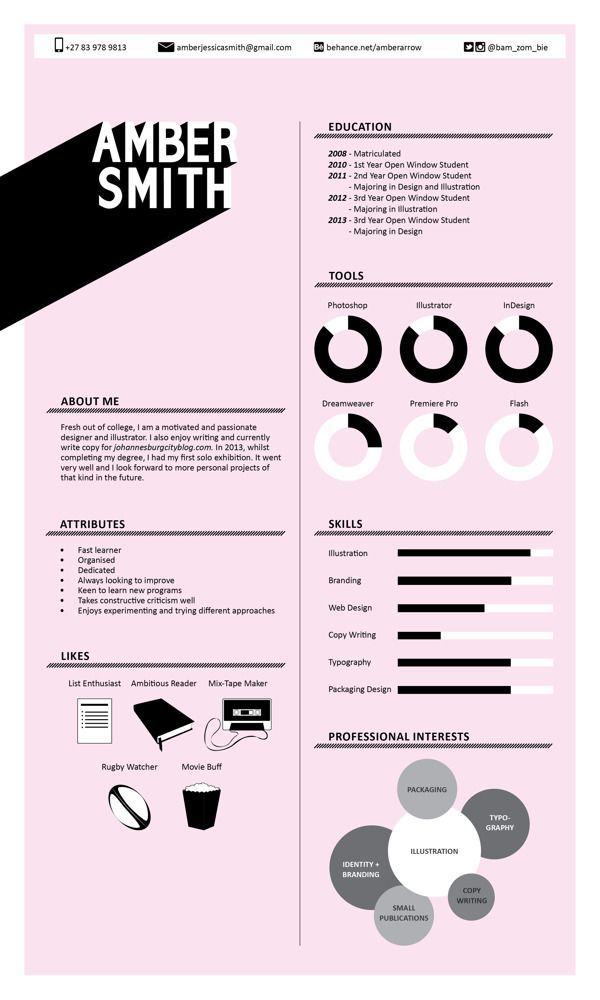 Identity 2013 by Amber Smith, via Behance u2026 Résumés Pinterest - resume lay out