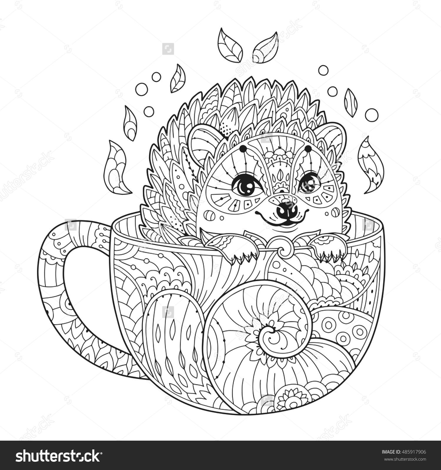 hedgehog in cup adult antistress coloring page with animal in zentangle style vector. Black Bedroom Furniture Sets. Home Design Ideas