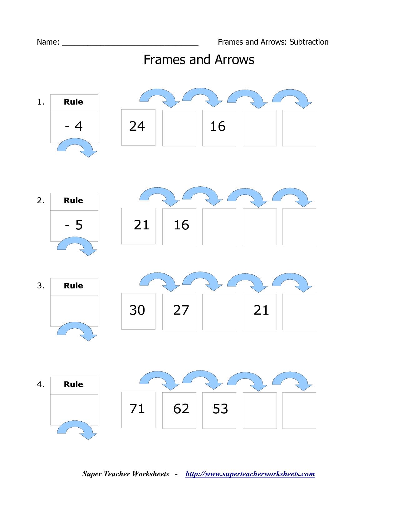 Frames And Arrows Worksheets First Grade Super Teacher Worksheets Third Grade Math Worksheets [ 1650 x 1275 Pixel ]