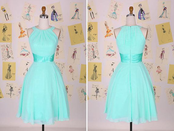 Light Gray Bridesmaid Dresses Knee Length Soft Tulle: Blue Sleeveless Short Bridesmaid Dress/Light Blue Knee
